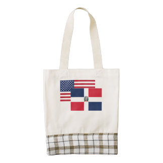 American And Dominican Flag Zazzle HEART Tote Bag