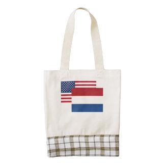 American And Dutch Flag Zazzle HEART Tote Bag