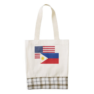 American And Filipino Flag Zazzle HEART Tote Bag