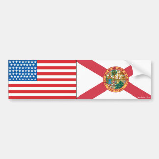 American and Florida State Flag Bumper Sticker