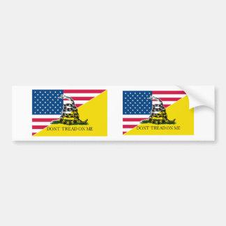 American and Gadsden Flag Car Bumper Sticker