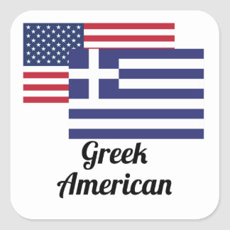 American And Greek Flag Square Sticker
