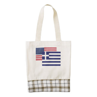 American And Greek Flag Zazzle HEART Tote Bag