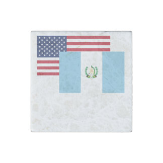 American And Guatemalan Flag Stone Magnet