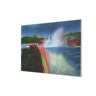 American and Horseshoe Falls Illuminated Canvas Print