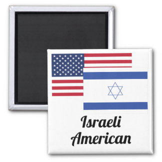 American And Israeli Flag 2 Inch Square Magnet