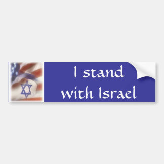 American and Israeli Flag I stand with Israel Car Bumper Sticker