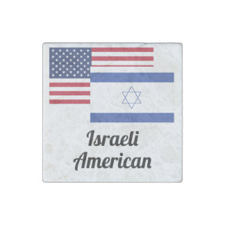 American And Israeli Flag Stone Magnet