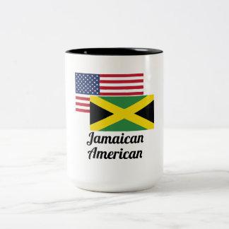 American And Jamaican Flag Two-Tone Coffee Mug