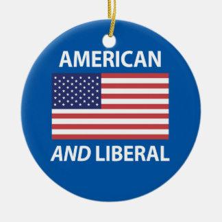 American AND Liberal Patriotic Flag Design Ceramic Ornament
