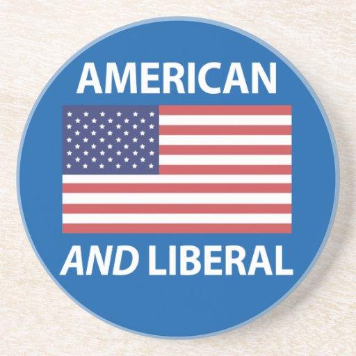 American AND Liberal Patriotic Flag Design Drink Coaster