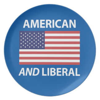 American AND Liberal Patriotic Flag Design Dinner Plate