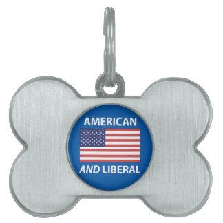 American AND Liberal Patriotic Flag Design Pet Name Tag