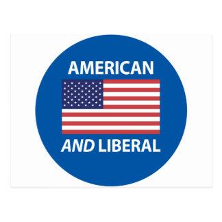 American AND Liberal Patriotic Flag Design Postcard