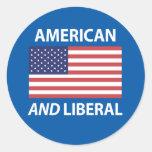 American AND Liberal Patriotic Flag Design Sticker