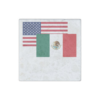 American And Mexican Flag Stone Magnet