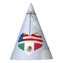American and Mexican Flags in Heart Wedding Party Hat