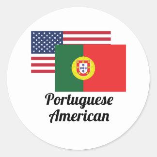 American And Portuguese Flag Classic Round Sticker