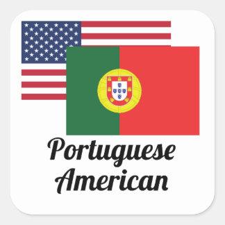 American And Portuguese Flag Square Sticker