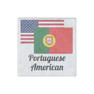 American And Portuguese Flag Stone Magnet