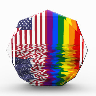 American And Rainbow Flags Reflected Awards