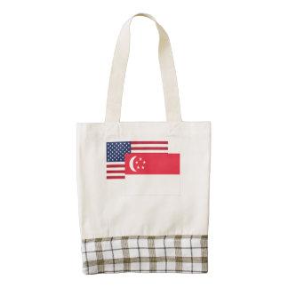 American And Singaporean Flag Zazzle HEART Tote Bag
