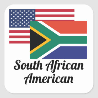 American And South African Flag Square Sticker