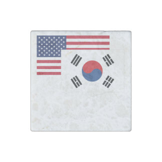 American And South Korean Flag Stone Magnet
