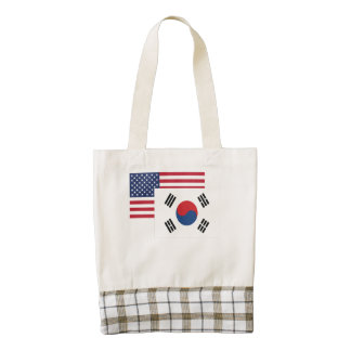 American And South Korean Flag Zazzle HEART Tote Bag