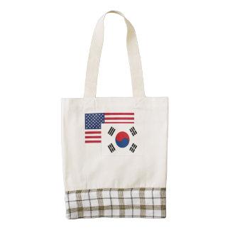 American And South Korean Flag Zazzle HEART Tote Bag