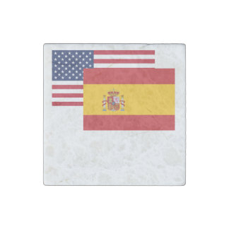 American And Spanish Flag Stone Magnet