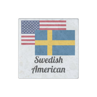 American And Swedish Flag Stone Magnet
