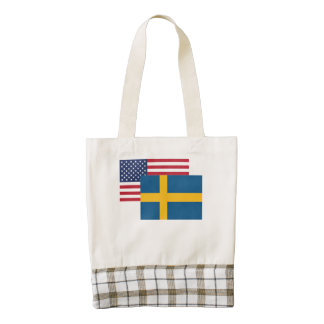American And Swedish Flag Zazzle HEART Tote Bag