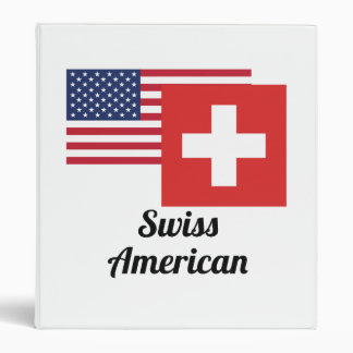 American And Swiss Flag 3 Ring Binder