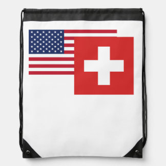 American And Swiss Flag Drawstring Bag