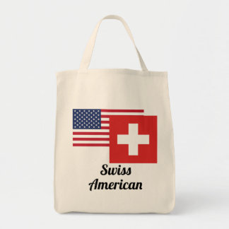 American And Swiss Flag Tote Bag