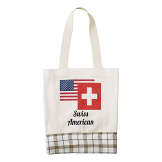 American And Swiss Flag Zazzle HEART Tote Bag