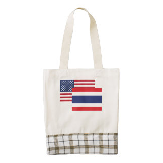 American And Thai Flag Zazzle HEART Tote Bag