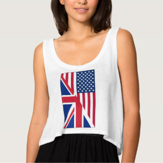 American and Union Jack Flag Flowy Crop Tank Top
