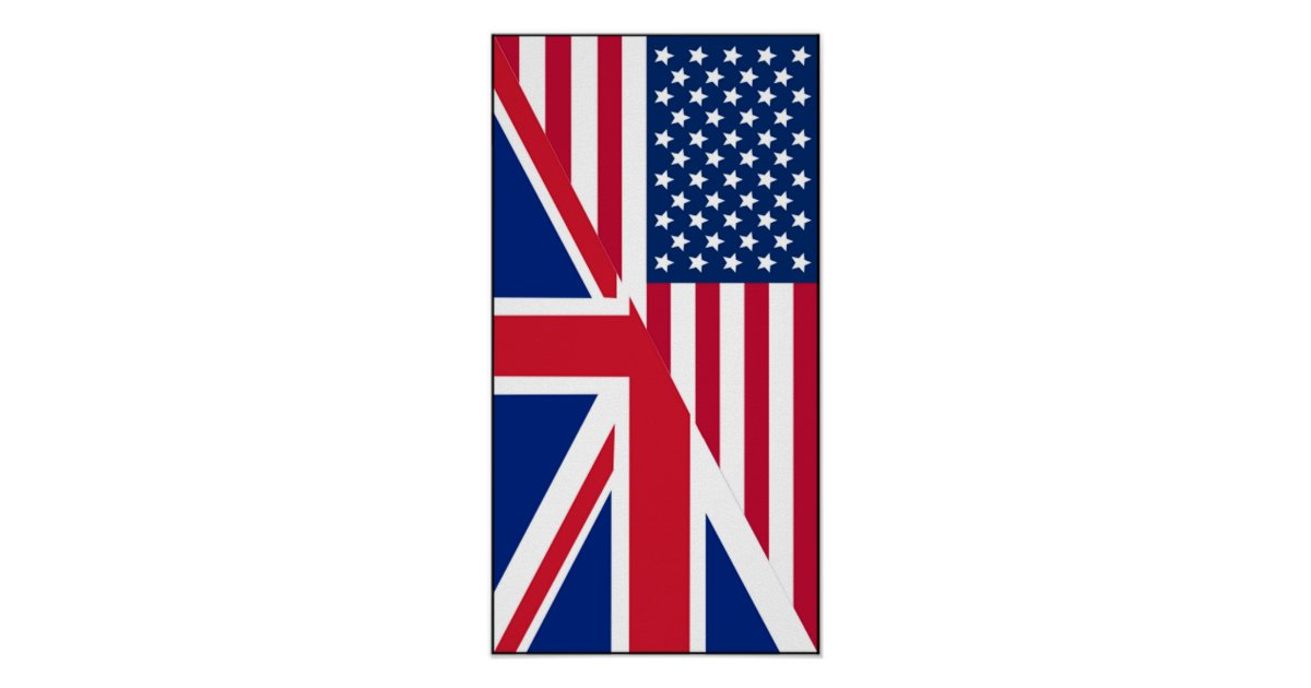 American And Union Jack Flag Poster Zazzle Com