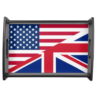 American and Union Jack Flag Small Serving Tray