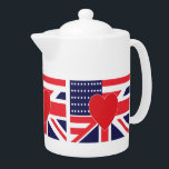 """American and Union Jack Flag Teapot<br><div class=""""desc"""">American and Union Jack Flag Design</div>"""