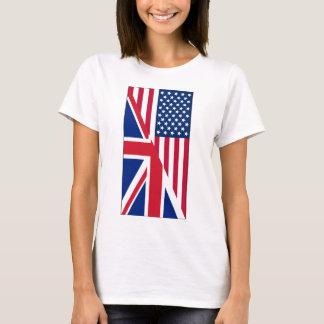 American and Union Jack Flag Women's Basic T-Shirt