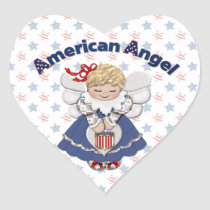 American Angel Heart Sticker