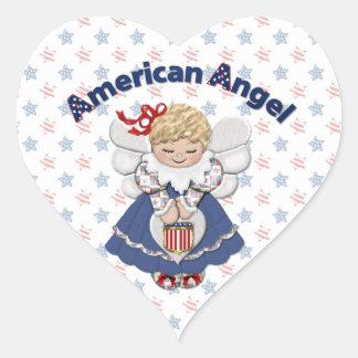 American Angel Heart Sticker