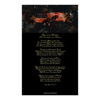American Anthem Patriotic Art & Poem Poster