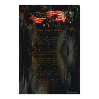American Anthem Patriotic Art, US Flag & Poem Poster