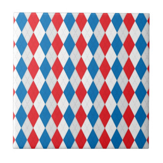American Argyle (Red, White & Blue) Ceramic Tile