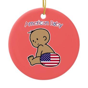 USA Themed American Baby Ceramic Ornament