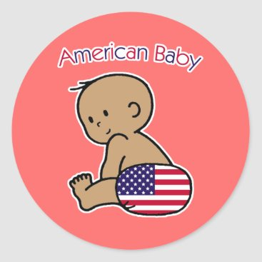 USA Themed American Baby Classic Round Sticker